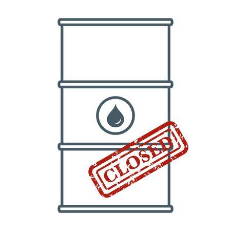 Vector illustration Oil industry Economic crisis. Crowded storage. Oil storage problem. Falling global oil demand. Market crash WTI West Texas Intermediate Drop prices to negative value Design for web Illustration