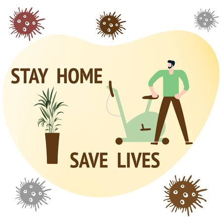 Vector illustration Stay home Save lives. coronavirus COVID-19 Quarantine. Sport and fitness training at home. Social distancing. Online sports activities Fitness blog, workout app Health care Ilustração