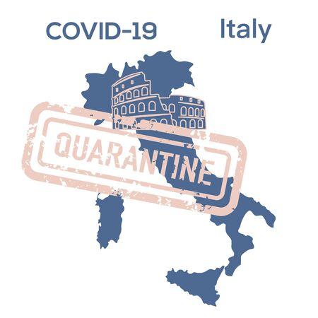 Vector illustration COVID-19 Pandemic. Quarantine Italy. Virus protection, infection prevention. Control Epidemic. Pathogen respiratory coronavirus 2019-nCoV. Health, medicine. Stop spread of virus