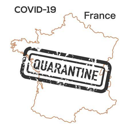 Vector illustration COVID-19 Pandemic. Quarantine France. Virus protection, infection prevention. Control Epidemic. Pathogen respiratory coronavirus 2019-nCoV. Health, medicine. Stop spread of virus