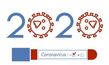 Vector illustration 2020 year Quarantine  Coronavirus Pandemic COVID-19 Negative virus test tube. Blood test  virus Stop Danger 2019-nCoV Outbreak Worldwide threat of infection Health risk