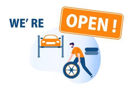 Vector illustration Opening of Car service, Auto repair shops, Auto diagnostics center, automobile maintenance station, tire service after coronavirus quarantine COVID-19 Open Design for web, print  イラスト・ベクター素材