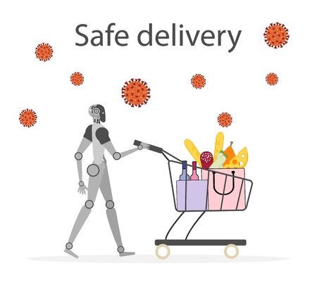 Vector illustration Quarantine. Online food, drink ordering, safe, fast delivery with robot.  coronavirus COVID-19. Pandemic  virus. Reducing risk of infection, disease prevention measures