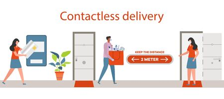 Vector illustration Contactless delivery People. Coronavirus COVID-19 Quarantine. Courier and customer keep safe distance when transferring order  virus 2019-nCoV protection, infection prevention