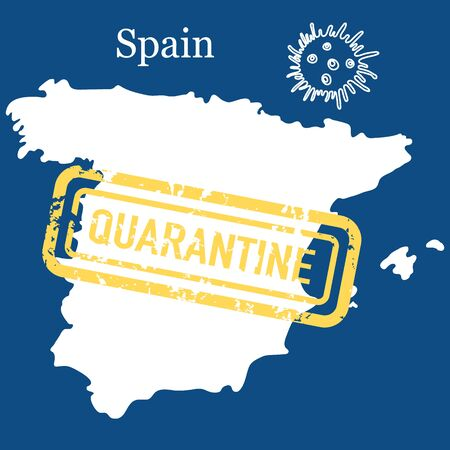 Vector illustration COVID-19 Pandemic. Quarantine Spain. Virus protection, infection prevention. Control Epidemic. Pathogen respiratory coronavirus 2019-nCoV. Health, medicine. Stop spread of virus