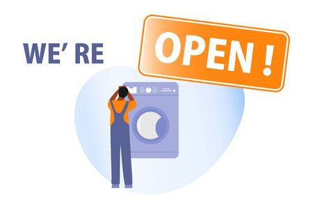 Vector illustration Opening of services for repair of household appliances, electrical appliances after coronavirus quarantine. People. COVID-19 Open Household master services concept Design for print