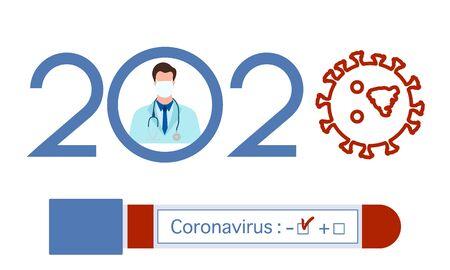 Vector illustration 2020 year Quarantine  Coronavirus Pandemic COVID-19 Negative virus test tube. Blood test Doctor wearing mask  virus Stop Danger infection 2019-nCoV Outbreak Health risk  イラスト・ベクター素材