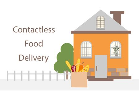 Vector illustration Contactless delivery. Food bag left at the entrance to the house. Coronavirus COVID-19 Quarantine Order Transfer. Virus 2019-nCoV protection, infection prevention. Control Epidemic  イラスト・ベクター素材