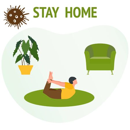 Vector illustration Stay home.  coronavirus COVID-19 Quarantine. Sport and fitness training at home Social distancing Online sports activities Active lifestyle Fitness blog, workout app concept