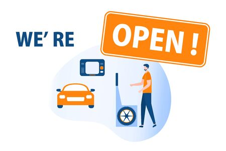 Vector illustration Opening of Car service, Auto repair shops, Auto diagnostics center, automobile maintenance station, tire service after coronavirus quarantine COVID-19 Open Design for web, print