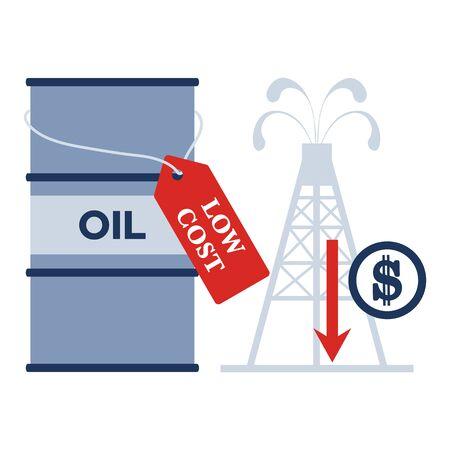 Vector illustration Oil price decrease. Petroleum industry. Economic crisis. Drop prices to negative value. Low cost. Storage. Market crash. WTI West Texas Intermediate. Falling global oil demand.  イラスト・ベクター素材