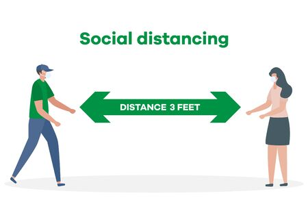Vector illustration Keep distance. Social distancing.  coronavirus COVID-19 People in protective masks stand at distance from each other Pandemic Reducing risk of infection, prevention measures