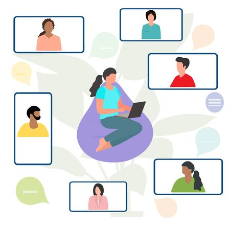 Vector illustration People Remote work. Work chat on devices. Quarantine COVID-19. Video conference for collective discussion online. Webinar Presentation Business consulting,  virtual meeting concept