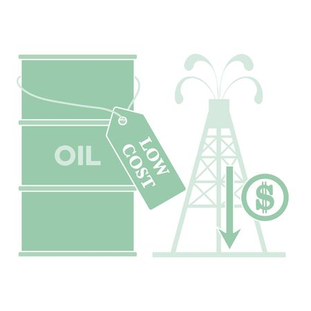Vector illustration Oil price decrease. Petroleum industry. Economic crisis. Drop prices to negative value. Low cost. Storage. Market crash. WTI West Texas Intermediate. Falling global oil demand. 版權商用圖片 - 146235740