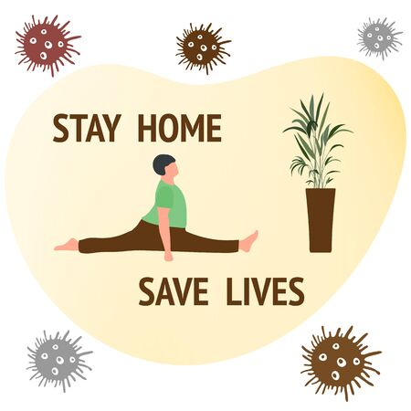 Vector illustration Stay home Save lives.   coronavirus COVID-19 Quarantine. Sport and fitness training at home. Social distancing. Online sports activities Fitness blog, workout app Health care