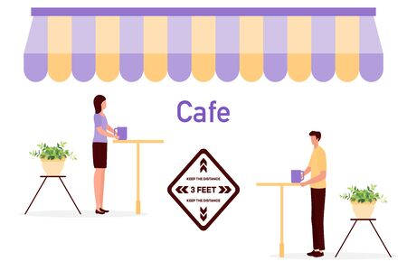 Vector illustration Reopening of cafe, restaurant after COVID-19 quarantine, coronavirus pandemic. Keeping distance between visitors. Social distancing. Reducing risk of infection, prevention measures