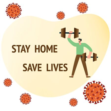 Vector illustration Stay home Save lives. coronavirus COVID-19 Quarantine. Sport and fitness training at home. Social distancing. Online sports activities Fitness blog, workout app Health care Illustration