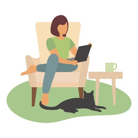 Vector illustration Remote work Girl works, talking in chat, plays, watches a movie on a laptop. Coronavirus Quarantine COVID-19 Entertainment at home Freelance Studying concept. Design for web, print Illustration