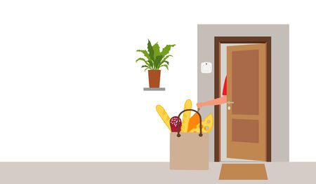 Vector illustration Contactless delivery. Food bag left at the entrance to the house. Coronavirus COVID-19 Quarantine Order Transfer. Virus 2019-nCoV protection, infection prevention. Control Epidemic Illustration