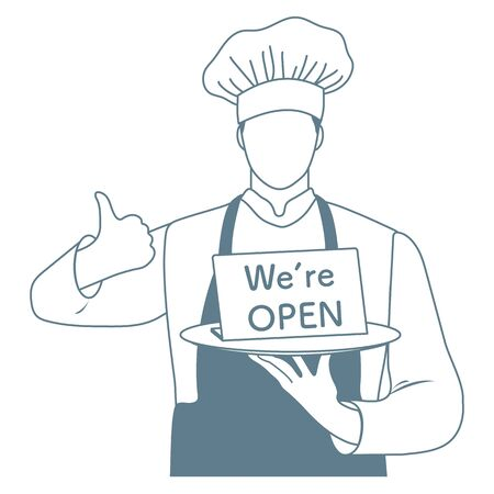 Vector illustration Reopening of cafe, restaurant after COVID-19 quarantine, coronavirus pandemic. Chef Cook with a sign We're open. Welcoming customers, informing about opening. Design for web, print