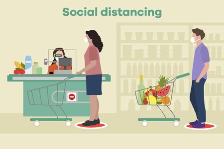 Vector illustration Social distancing. Coronavirus COVID-19. People in masks stand at marks at distance from each other in store, supermarket. Pandemic. Reducing risk of infection, prevention measures