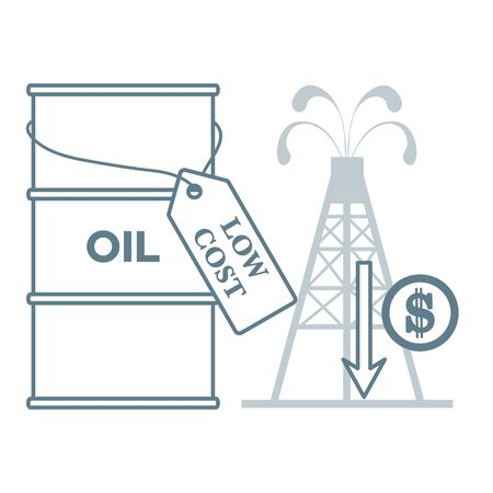 Vector illustration Oil price decrease. Petroleum industry. Economic crisis. Drop prices to negative value. Low cost. Storage. Market crash. WTI West Texas Intermediate. Falling global oil demand. 向量圖像