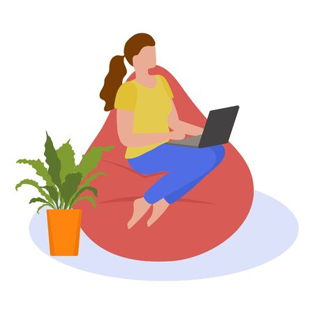 Vector illustration Remote work Girl works, talking in chat, plays, watches a movie on a laptop. Coronavirus Quarantine COVID-19 Entertainment at home Freelance Studying concept. Design for web, print Иллюстрация