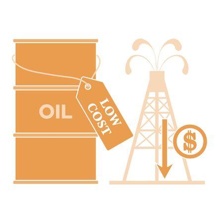 Vector illustration Oil price decrease. Petroleum industry. Economic crisis. Drop prices to negative value. Low cost. Storage. Market crash. WTI West Texas Intermediate. Falling global oil demand. Illustration