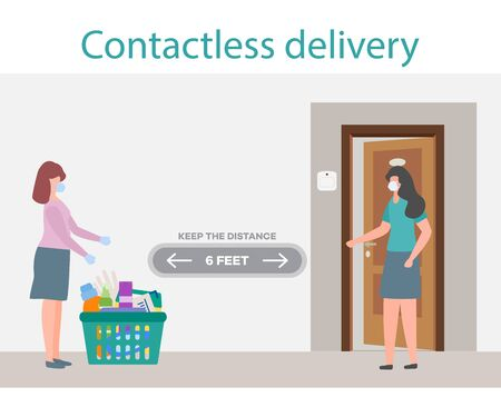 Vector illustration Contactless delivery People. Coronavirus COVID-19 Quarantine. Courier and customer keep safe distance when transferring order China virus 2019-nCoV protection, infection prevention