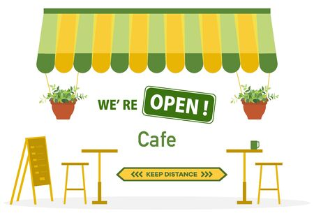 Vector illustration Reopening of cafe, restaurant after COVID-19 quarantine, coronavirus pandemic. Sign We're open. Keep distance. Social distancing. Reducing risk of infection, prevention measures Vecteurs