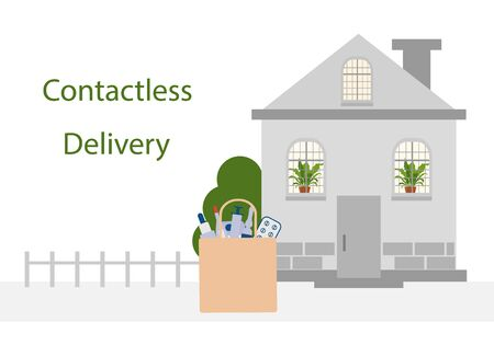 Vector illustration Contactless delivery. Medicines bag left at entrance to the house. Coronavirus COVID-19 Quarantine Order Transfer. Virus 2019-nCoV protection, infection prevention Control Epidemic Illustration