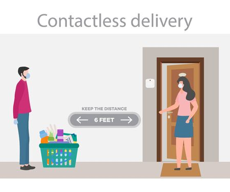 Vector illustration Contactless delivery People. Coronavirus COVID-19 Quarantine. Courier and customer keep safe distance
