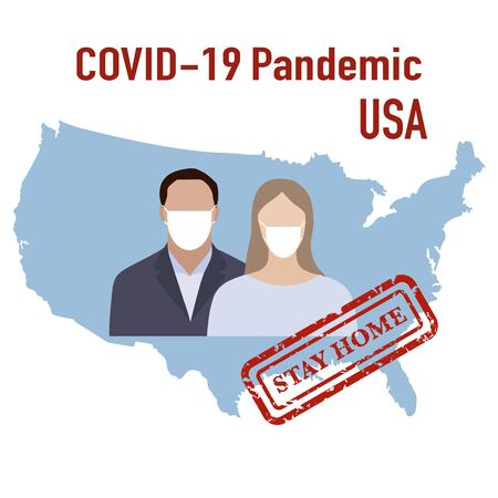 Vector illustration USA Map Covid-19 People in protective masks. Quarantine. Pandemic. Stop the spread of corona virus 2019-nCoV Protection, infection prevention Pathogen respiratory Design for print