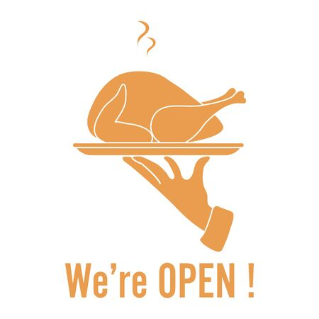 Vector illustration Reopening of cafe, restaurant after COVID-19 quarantine, coronavirus pandemic. Waiter's hand carries chicken dish. Message We're open. Welcoming customers, informing about opening