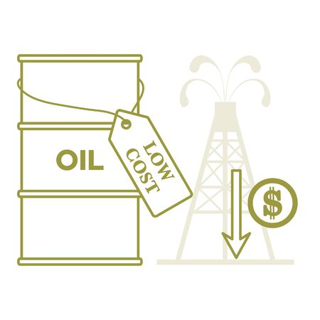 Vector illustration Oil price decrease. Petroleum industry. Economic crisis. Drop prices to negative value. Low cost. Storage. Market crash. WTI West Texas Intermediate. Falling global oil demand. Illustration