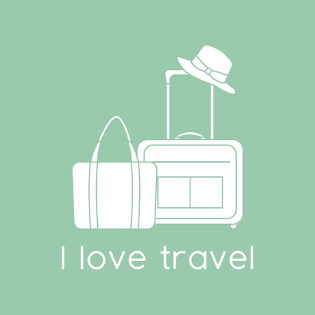 Vector illustration Suitcase, sun hat, beach bag isolated on color background. I love travel. Summer time, vacation, holiday, leisure. Concept for travel agency. Design for web page, print