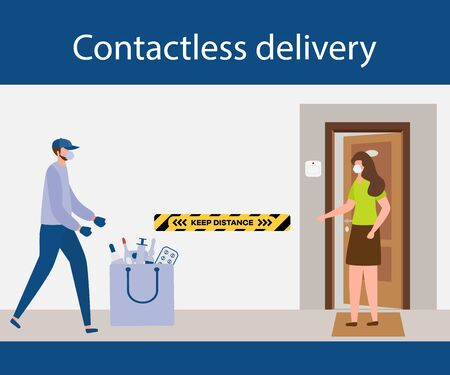 Vector illustration Contactless delivery People. Coronavirus COVID-19 Quarantine.