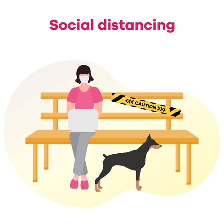 Vector illustration park bench after COVID-19 quarantine, coronavirus pandemic. Keeping distance between visitors. Social distancing. Reducing risk of infection, prevention measures
