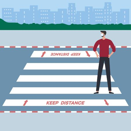 Vector illustration Marking of pedestrian crossings after COVID-19 quarantine, coronavirus pandemic. Keep the distance Social distancing Crosswalk City. Reducing risk of infection, prevention measures