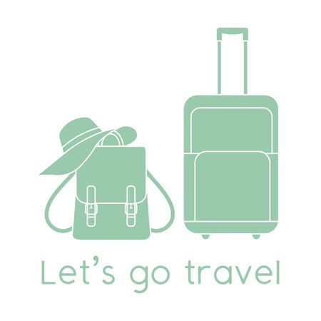 Vector illustration Suitcase, sun hat, backpack isolated on white background. Let's go travel. Summer time, vacation, holiday, leisure. Concept for travel agency. Design for web page, print