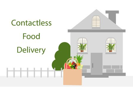 Vector illustration Contactless delivery. Food bag left at the entrance to the house. Coronavirus COVID-19 Quarantine Order Transfer. Virus 2019-nCoV protection, infection prevention. Control Epidemic Ilustração