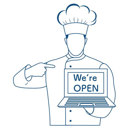 Vector illustration Reopening of cafe, restaurant after COVID-19 quarantine, coronavirus pandemic. Chef Cook with laptop We're open. Welcoming customers, informing about opening. Design for web, print