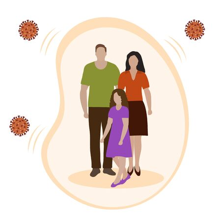 Vector illustration Parents and child protected against viruses, diseases Family health and wellness. Medical insurance plan Strong immunity, vaccination, healthy lifestyle Protect Health care concept 矢量图像