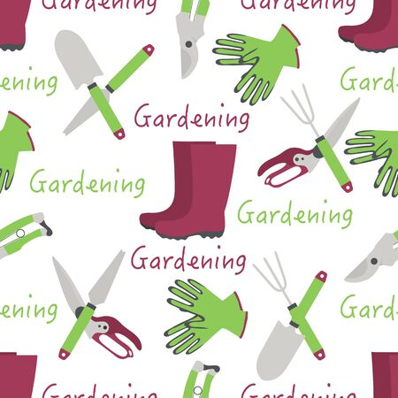 Vector seamless pattern Illustration with gardening tools and rubber boots. Gardening. Garden equipment. Repeated background for wrapping, textile, poster, print or web