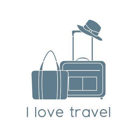 Vector illustration Suitcase, sun hat, beach bag isolated on white background. I love travel. Summer time, vacation, holiday, leisure. Concept for travel agency. Design for web page, print