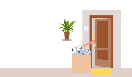 Vector illustration Contactless delivery. Medicines bag left at entrance to the house. Coronavirus COVID-19 Quarantine Order Transfer. Virus 2019-nCoV protection, infection prevention Control Epidemic 向量圖像