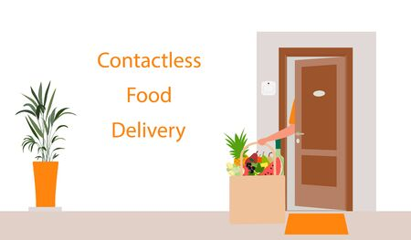 Vector illustration Contactless delivery. Food bag left at the entrance to the house. Coronavirus COVID-19 Quarantine Order Transfer. Virus 2019-nCoV protection, infection prevention. Control Epidemic 向量圖像