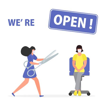 Vector illustration Reopening of hairdressers, spa salon after COVID-19 quarantine, coronavirus pandemic Sign We're open Keep distance Social distancing Reducing risk of infection, prevention measures
