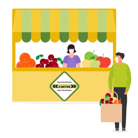 Vector illustration People Social distancing Market Selling vegetables, fruits, berries keep social distance New normal concept and physical distancing New behavior after COVID-19 coronavirus pandemic Ilustração