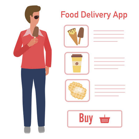 Vector illustration Online food, drink ordering app. Safe delivery. Fast courier service. Take away lunch home delivered. Menu mock up. E-commerce concept. Design for app, webpage, banner, print Illusztráció